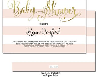 Baby Shower Invitation Pink and Gold | Pink White Stripes Girl Baby Shower Invite | Baby Shower Invitation Girl | Printable | Printed