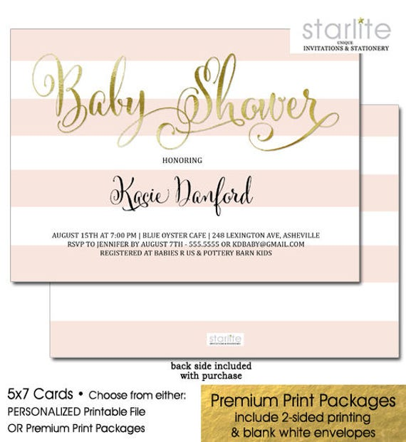 Baby Shower Invitation Pink And Gold Pink And Gold Baby Shower