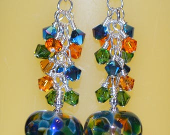Stunning Rainbow Lampwork and Swarovski Beaded earrings