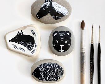 Holly Hedgehog - Black and White Painted Stone - Animal Illustration - Beach Pebble, Rock Art - by Natasha Newton