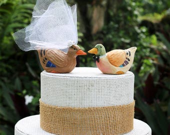 Mallard Wedding Cake Topper: Handcarved Wooden Duck Wedding Cake Topper