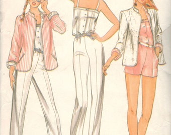 1980s Butterick 3705 Bagatelle Misses Reversible JACKET and JUMPSUIT Pattern Womens Vintage Sewing Pattern Size 12 Bust 34 UNCUT