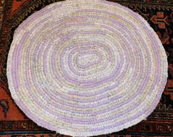 """Handmade Amish Knot Toothbrush Rug - Recycled Crochet Rag Rug - 28"""" x 27"""" - Lavender and Pale Green Almost Round - Cottage Chic - Farmhouse"""