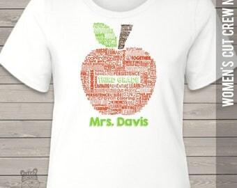 Teacher apple word collage name grade crew neck or vneck shirt - back to school teacher shirt MSCL-045