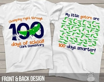 Teacher shirt - 100 Days Smarter - gators 100 hundred day crew neck or vneck shirt  MSCL-128