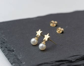 Star Earrings 14k solid Gold Pearl Earrings Rose Gold Star with pearl Jewelry Star dangle earring post earring dainty 14k