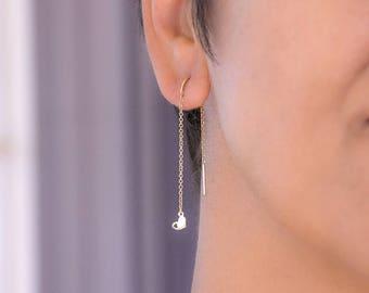 Long Solid Gold Heart Earrings Threader Earring Bar Dangle Earrings Dainty 14k solid yellow Gold Gift Wife