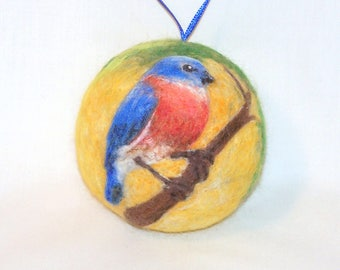 Christmas Ornament - Needle Felted - Bluebird in Tree - Bird Ornament - Felt Christmas - CIJ - Christmas Gift - Holiday Decor
