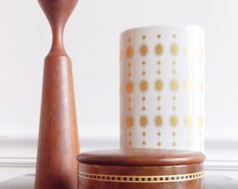 Signed vintage round wood inlay trinket box / Hawaiian Koa wood lidded box/ 60s jewelry storage box