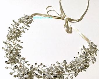 Silver Wedding Tiara, Bridal Hair Vines, Bridal Headband, Leaves Bridal Crown, Flower Wreath, Crystal Pearl Bridal Hair Jewelry, DAISY