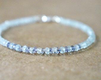 aquamarine and iolite bracelet. aquamarine bracelet. thin multi-gemstone beaded bracelet.. pale aquamarine bracelet with iolite