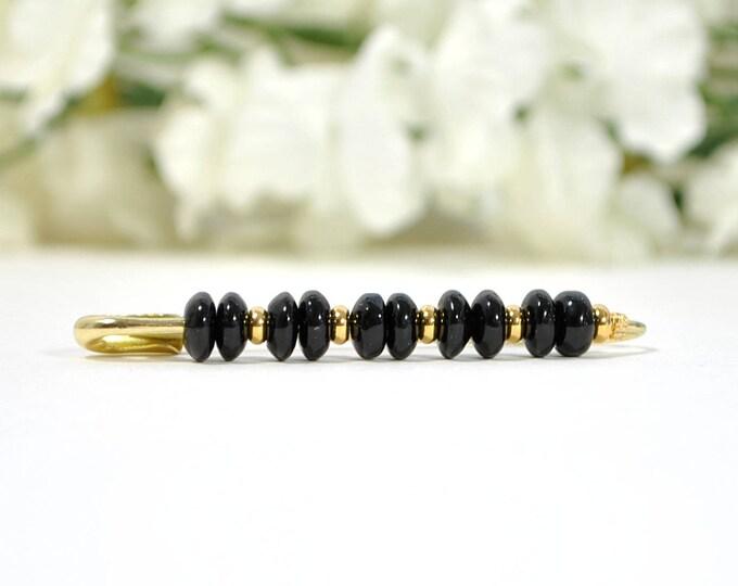 Black Scarf Pin Hijab Pin Black Gold Lapel Pin Beaded Safety Pin Black