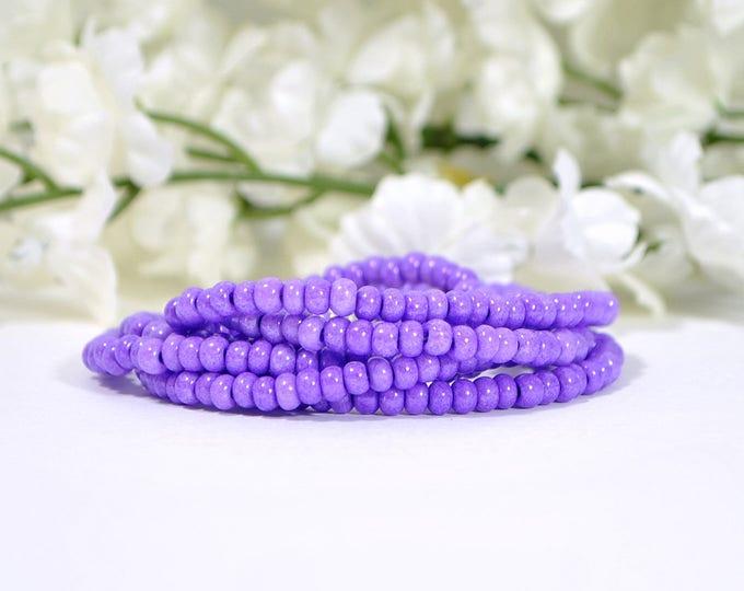 Purple Lanyard 18 inch Break Away Lanyard Purple Beaded Lanyard Badge Holder ID Necklace