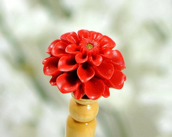 Red Floral Hair Stick Single Handmade Hairstick