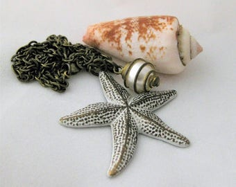 Starfish Necklace Aged White Patina and Vintage Caged Pearl starfish jewelry ocean necklace nautical necklace beach jewelry beach necklace