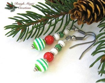 Red Green White Christmas Earrings, Holiday Jewelry, Candy Stripe Beads, Sterling Silver Dangle Earrings, Stocking Stuffer Gift for Her ETBD