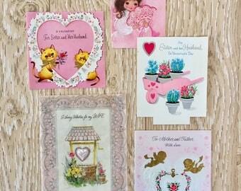 Darling Pastel Set of Five Vintage 1950-70s Valentine Cards