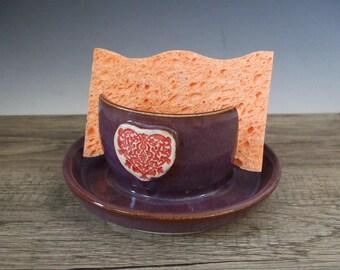 Beautiful Purple Sponge Holder with Red Heart by misunrie