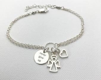 Never Give Up Angel Bracelet in Sterling Silver - Motivational bracelet, Inspiration Bracelet, Graduation Gift, Hope Bracelet