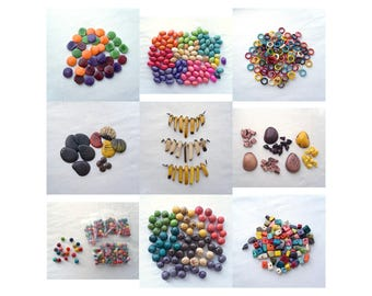 RESERVED - Tagua Nut Beads for Jewelry Making - Tagua Rings, Medallion, Confetti, Zebra, Rainbow Nuggets, Spears, Kidney, Olive BULK DESTASH