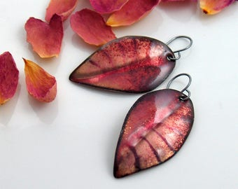 Enameled Earrings Rose Pink and Brown, Copper Enamel Leaves Jewelry in Glass and Metal, Autumn One of a Kind Original Art Earrings