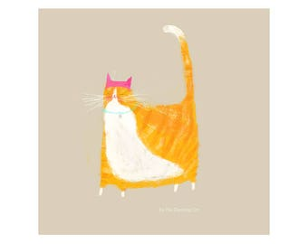 Pink Hat Cat - Orange Tabby Cat Version - Cat Painting - Print