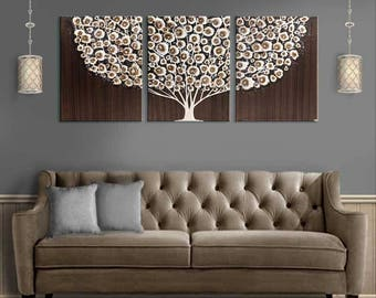 Good Large Wall Art Canvas Triptych Tree Painting In Acrylic   Neutral Brown    Extra Large 62x24 Part 17