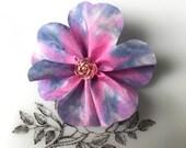 Blue and Pink Flower Brooch, silk corsage, blue flower brooch, pink flower brooch, lapel pin, hat pin, brooch pin, silk jewellery,  - F16
