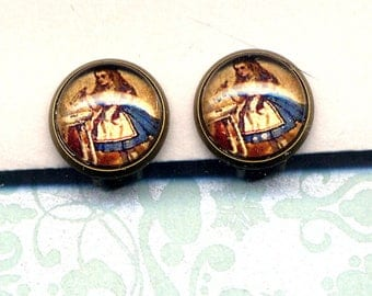 Alice in Wonderland Clip On Earrings, Clip on Earrings, Drink Me Clip Earrings, Blue red Gold Clips Earrings, Nature earrings by annaart72