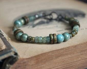 Breakers. Rustic Bohemian Beach Ocean-Inspired Ceramic and Glass Beaded Bracelet.