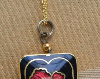 """Floral Cloisonne Pendant Necklace, Black, Red, Pink, Vintage, 18"""" (Z1)"""