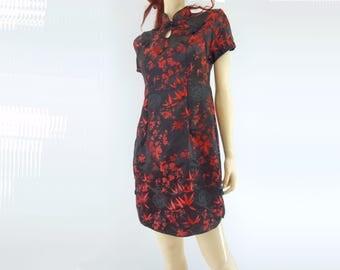 90s Asian Mini Dress Red Black Cheongsam Satin Brocade Dress 90s Party Dress Red Black Floral 90s Asian Dress Short Sleeve Dress m