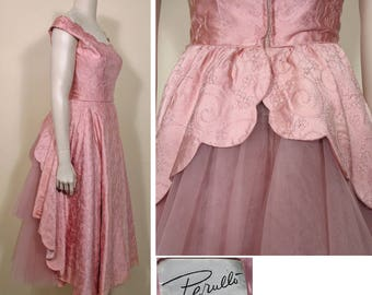 1950s Vintage Rose Pink Satin and Net Party Dress by Perullo David Hart SZ S