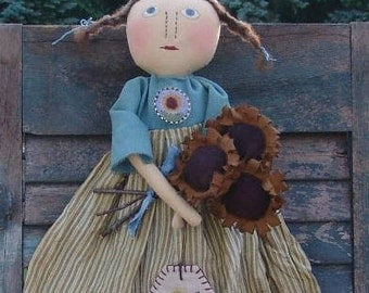 Primitive Cloth doll pattern Sunny doll with sunflowers, punch needle pattern, HFTH208