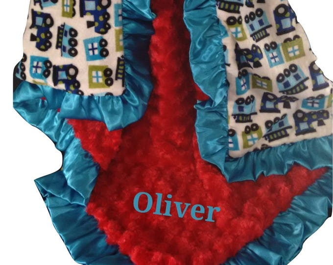 Personalized Red and Aqua Train Minky Baby Blanket