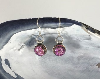 Earrings: Hot Pink Dichroic Fused Glass + Sterling Silver