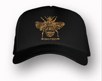 SAVE THE BEES Trucker Hat (+ Colors) - Zen Threads - Hand screen printed in California - Ships Free - zen threads