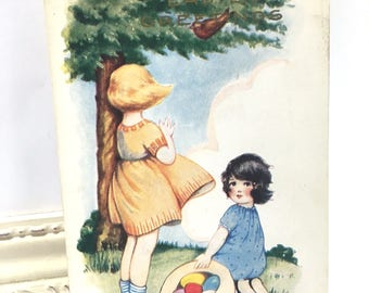 Vintage Easter Postcard, Vintage Postcard, Easter Postcard, Easter Ephemera, Two Little Girls Under a Tree, Whitney Made