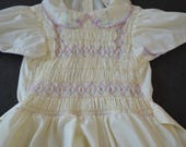 Vintage POLLY FLINDERS girls dress size 7 made in usa hand smocked