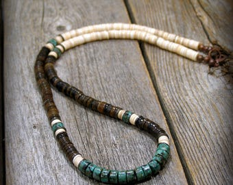 Southwest Heishi Necklace, Native American Inspired, Mens Necklace, Jewelry for Men, Rustic Necklace, Beaded Necklace, Shell Necklace