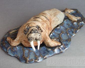 Walrus on the Water Ceramic Animal Sculpture