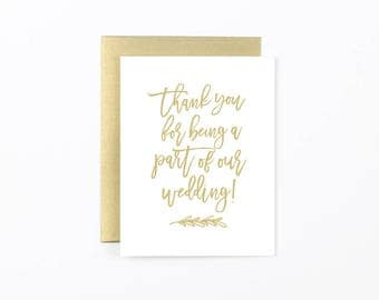 thank you for being a part of our wedding card, wedding party card, wedding day card, wedding vendor card, officiant card, photographer card