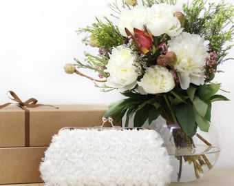 Ivory Bridal Rosebuds Floral Clutch on Rose Gold Purse Frame | Bridal Clutch Chiffon