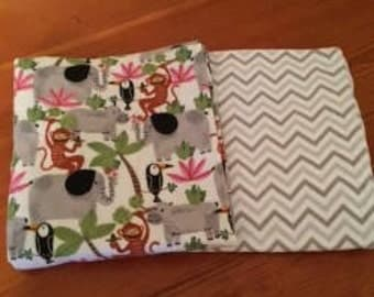 Flannel play yard sheet set/jungle time