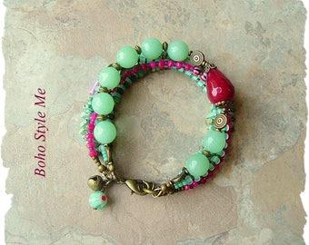 Bohemian Jewelry, Multiple Strands, Colorful Beaded Bracelet, Ruby and Mint, Boho Hippie Gypsy, Boho Style Me, Kaye Kraus
