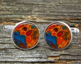 Acrylic Pour Cufflinks Blue Orange-#18-Orange and Blue Cells-Abstract Art-Man Gift-Wedding-Abstract Acrylic Painting-Jewelry Box-Stylish