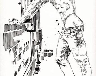 "Breaking Down Walls- Male Nude Figure - 9 x 12"" ink on paper - original drawing by Brenden Sanborn"