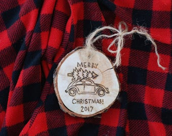 VW Bug Christmas Tree Ornament - 2017 - Custom Personalized Wording and/or Family Name Optional Addition - Volkswagen Beetle