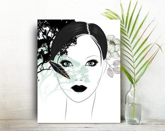 Living room wall art woman painting gift for best friend bff gift Minimalist inspirtional gift for women black and white Wall Art Gifts