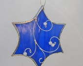 Blue Stained Glass Star Suncatcher or Ornament for Hanukkah